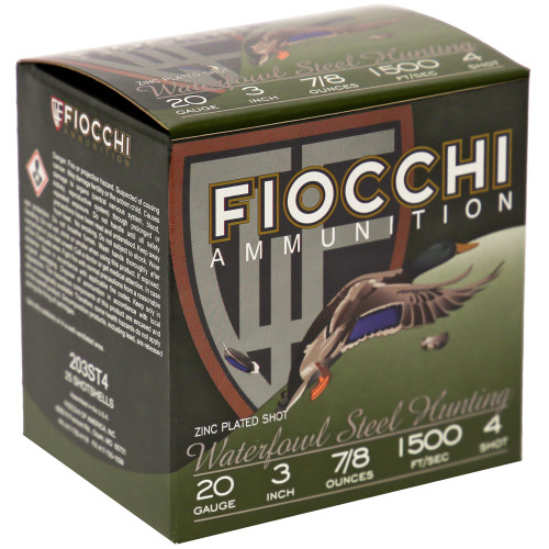 """Fiocchi FW Steel 20GA, 3"""", #4, 25 Rd box"""