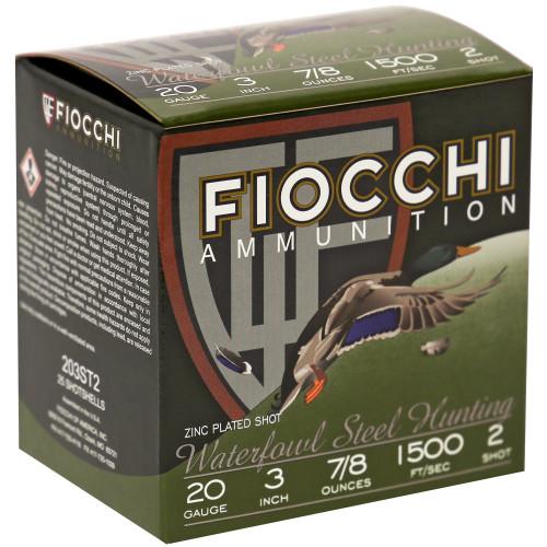 """Fiocchi FW Steel 20GA, 3"""", #2, 25 Rd box"""