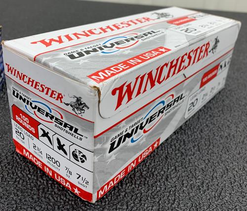 "Winchester Univ. Shells, 20 GA, 2.75"", #7.5, 8.75 oz, 100 rd box"