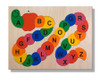 Alphabet ABC Wooden Puzzle with all pieces in the puzzle. Capital letters are on top of the pieces, with lower-case letters under each capital letter piece.
