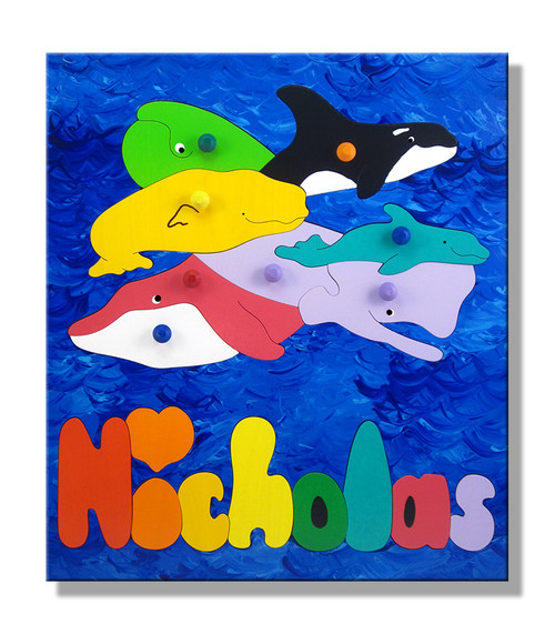 Ocean Whales Wooden Personalized Name Puzzle