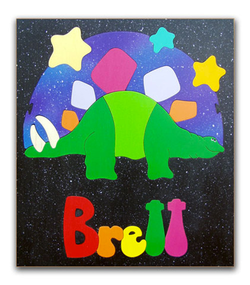 Wooden Name Puzzle for Kids Stegosaurus Dinosaur