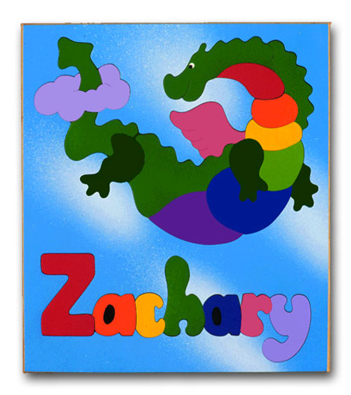 Wooden Name Puzzle for Kids Flying Dinosaur Dragon