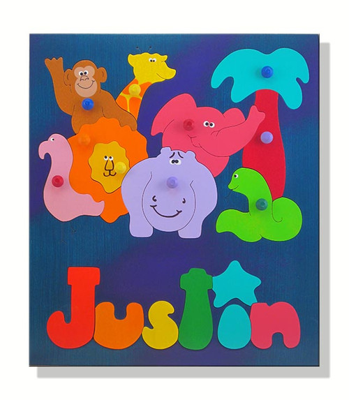Personalized Name Puzzle | African Zoo Animals