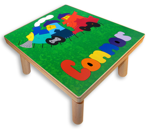 Wood Train Name Puzzle Stool