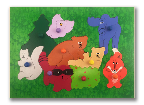 Toddler Puzzle with Pegs | Woodland Animals