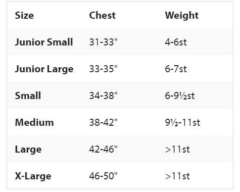 Rooster Side Zip Buoyancy Aid Size Chart