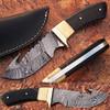 WHITE DEER Damascus Steel Hunting Knife Camel Bone & Buffalo Horn Handle