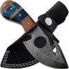 White Deer Tracker Damascus Steel Knife Gut Hook Hunting Skinner w Finger Hole