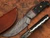 Damascus Steel Hunting Knife Buffalo Horn Handle