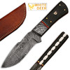 White Deer Damascus Steel Custom Handmade Skinner  Knife Buffalo Handle