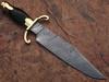 Custom Made Damascus Steel Bowie Knife with Buffalo Horn Handle