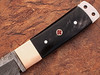 White Deer Damascus Steel Tanto Point Hunting Knife Buffalo Horn Handle