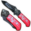 Custom Tribal Folding Knife - Tactical Red Wolf