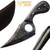 White Deer  Damascus Steel Skinner Knife w/Finger Hole (Micarta Wood Handle