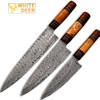 White Deer Custom Made Damascus Chef Knife Set of 3 Knife Olive Wood Handle