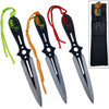 Ninja Throwing Knife Set of 3 Skulls Design Red, Orange, Green
