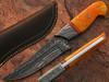 White Deer Damascus Steel  Hunting Knife Orange Color Camel Bone