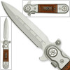 Gentlemans Tactical Classic Stiletto Style Assisted Open Knife Hardwood Handle