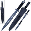 American NINJA Warrior Loadout SWORD & 2 Throwing KNIVES w Sheath Shoulder Strap