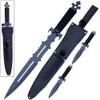 American NINJA Warrior Loadout SWORD & 2 Throwing KNIVES w Sheath Shoulder Strap