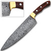 Damascus Chef Knife Rose Wood Handle with Rain-Drop Pattern