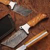 Custom Made Damascus Tracker Knife w/ Full Tang Olive Wood Handl