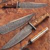 Custom Made Damascus Steel Traditional Hunting Knife w/Oliv Wood