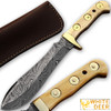WHITE DEER MAGNUM Damascus Steel Handmade Hunting Knife w Authentic Buffalo Bone Handle