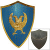Medieval Two Headed Eagle Shield Knights Prop Wall Hanger Blue & Gold 25 Inch