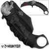 Z-HUNTER Zombie Tactical Karambit Black Knife Assisted-O Glass Breaker Finger Ring