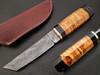 White Deer Rebel Nemesis Damascus Tanto Knife Custom Olive Wood Handle