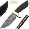 White Deer Custom Made Damascus Skiner Knife Micarta Wood Handle