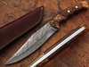 White Deer Exclusive Damascus Steel Bowie Knife With Rose Wood & Burl Olive Wood