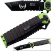 "MTECH USA Ballistic Tanto Knife Green 9.5"" Skull Spring Assist"