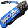 Alpha Wolf Super Sharp Knife Tribal Flame Folding Pocket Blue