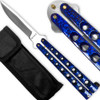 Scoundrel Alloy Balisong Butterfly Knife Blue & Black Matrix Handle