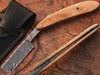 White Deer Damascus Steel Straight Razor w/ Olive Wood Handle