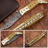 Executive Series Folding Damascus Gurkha Knife High-End Camel Bone w Brass