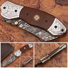 Signature Spay-Point Damascus Steel Folding Knife Micarta Wood Handle Unique Handmade