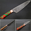 ULTRA SHARP Santoku Forged Chef Knife Damascus Steel Red/Green Resin Grips by White Deer
