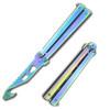 Balisong Belt Cutter Multi functional Butterfly Knife Gut Hook Tool Opener