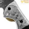 WHITE DEER Bird of Prey Damascus Folding Knife White Copper Bolstering