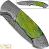 White Deer Folding Damascus Knife Green Colorized Camel Bone Grips