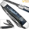 White Deer Master Trapper Damascus Knife Blue Giraffe Bone Folding Dual Blade
