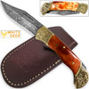 WHITE DEER Lockback Damascus Folding Knife Orange Giraffe Bone