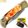WHITE DEER Lockback Damascus Folding Knife Orange Giraffe Bone Handle Engraved Bolster