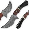 1095HC Damascus Steel Blade  Buffalo Horn Camel Bone Handle Skinner