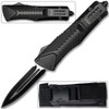 Spear Point OTF Knife Out The Front Assisted Open Tactical Glass Breaker Straight Edge Black Grip Handle