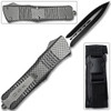 Spear Point OTF Knife Out The Front Assisted Open Tactical Glass Breaker Straight Edge Silver Handle